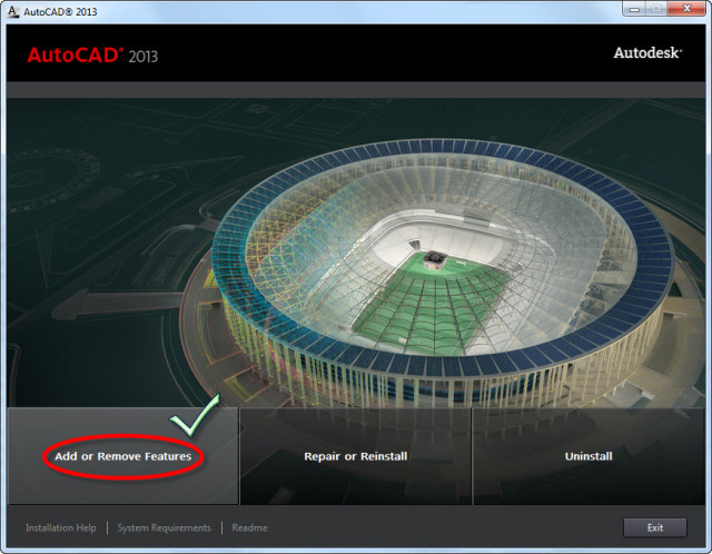 Add or Remove Features autocad