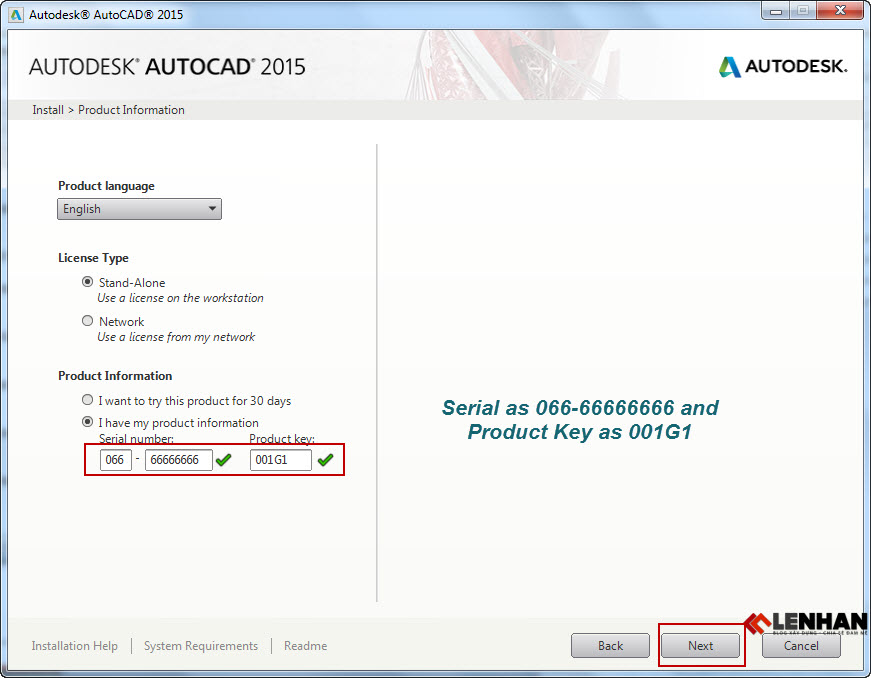 Serial and Product Key autocad 2015