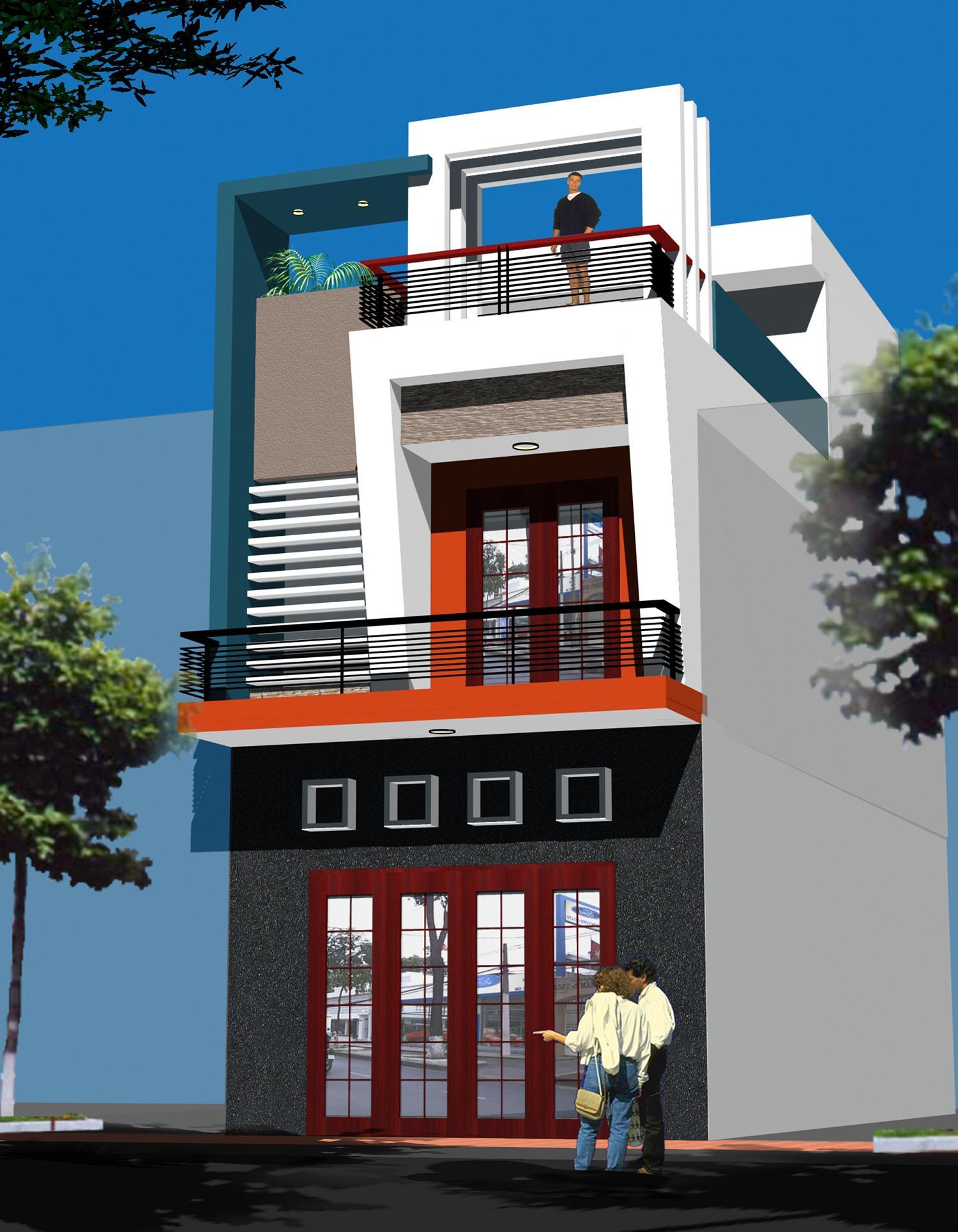 Bản vẽ nhà phố 2 tầng chi tiết trên đất 5mx16m