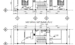Bản vẽ thiết kế nhà ống lệch tầng trên đất 3.75x13m