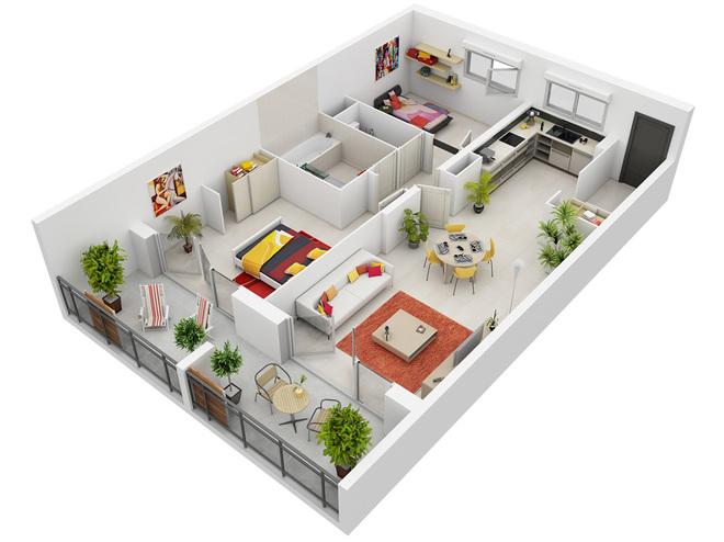 Những phương án thiết kế căn hộ đẹp có 2 Phòng Ngủ