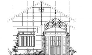 Bản vẽ thiết kế nhà cấp 4 – 1 tầng 2 phòng ngủ trên đất 90m2