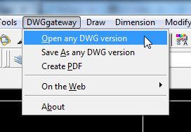 DWGgateway – Plugin giúp đọc file dwg của cad đời cao trên cad 2007