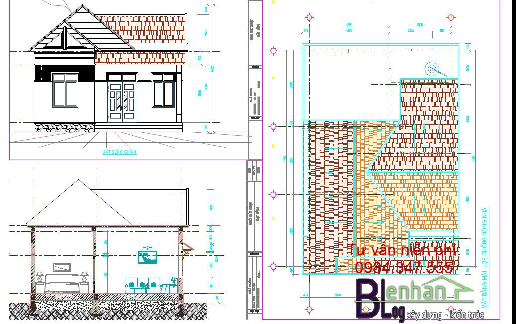 Tải miễn phí bản vẽ nhà đẹp 1 tầng diện tích 8x12m
