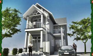 Mẫu nhà đẹp 2 tầng mặt tiền phố mái thái thoáng mát
