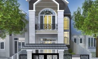 Thiết kế nhà đẹp 2 tầng 6,5×16 mái thái mặt tiền đẹp