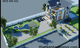 Bản vẽ biệt thự vườn 3 tầng mái thái 11×14 phong cách hiện đại