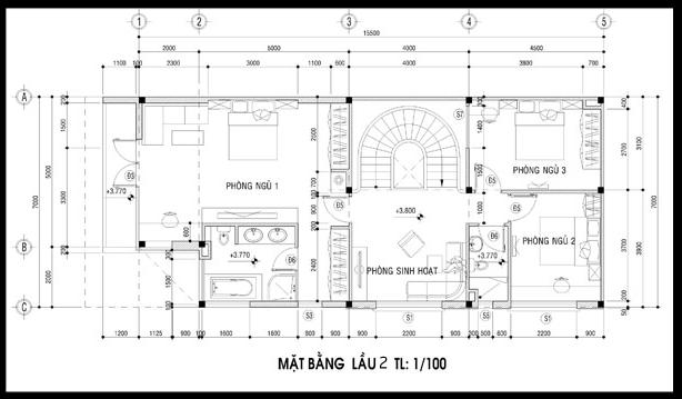 mat bang tang 2 biet thu hien dai 3 tang 2 mat tien 7x16 dep