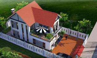 Mẫu nhà biệt thự đẹp 2 tầng ở nông thôn 100m2 hiện đại
