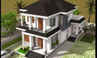 Mẫu biệt thự đẹp 2 tầng hiện đại 8×16 mái thái sân vườn