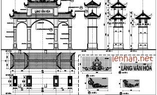 FIle cad bản vẽ 11 mẫu cổng làng  văn hóa