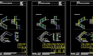 Bản vẽ autocad 2D, 3D lan can kính cầu thang