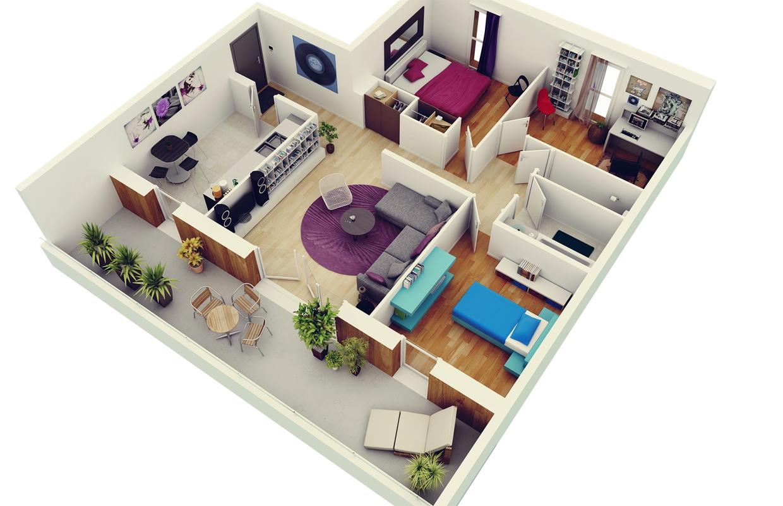 50 mẫu căn hộ hiện đại có 3 phòng ngủ đẹp