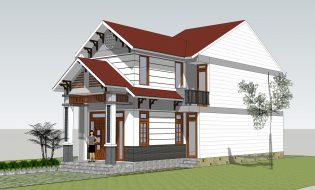 Thiết kế nhà cấp 4 đẹp 1.5 tầng (5x17m) mái thái 3 phòng ngủ chi phí 550 triệu?