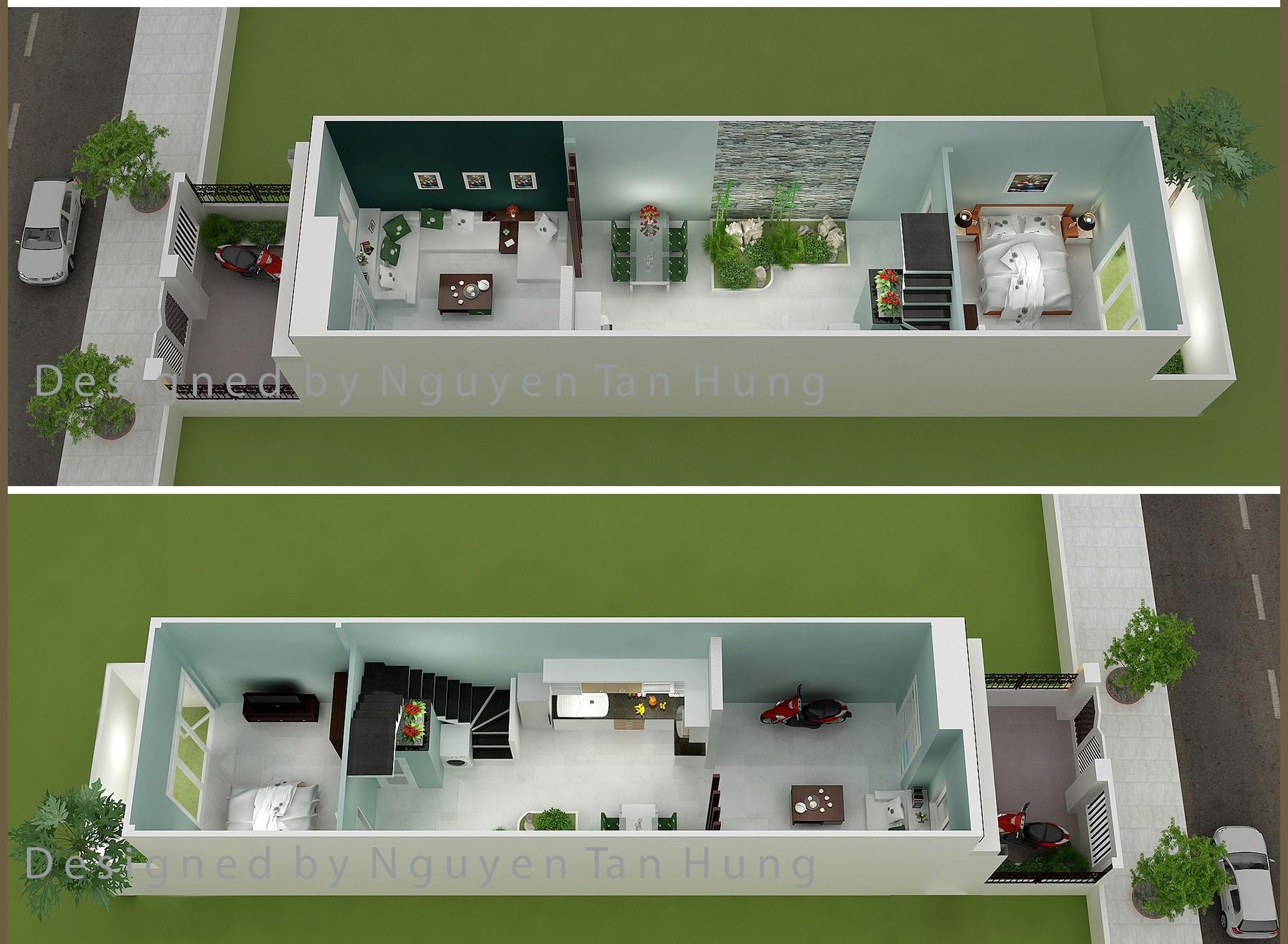 Mẫu thiết kế nhà cấp 4 đẹp mái tôn, giá rẻ trên đất 4mx19m