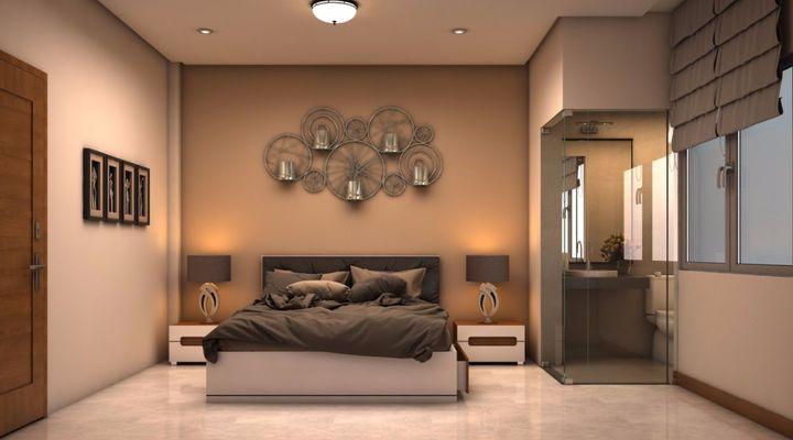 Không gian phòng ngủ mẫu thiết kế nhà phố 2.5 tầng đẹp hiện đại trên đất 72m2
