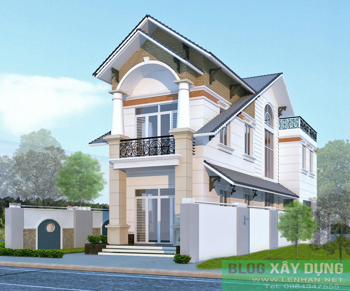 Bản vẽ thiết kế nhà đẹp hai tầng mái thái trên diện tích 6 x21m