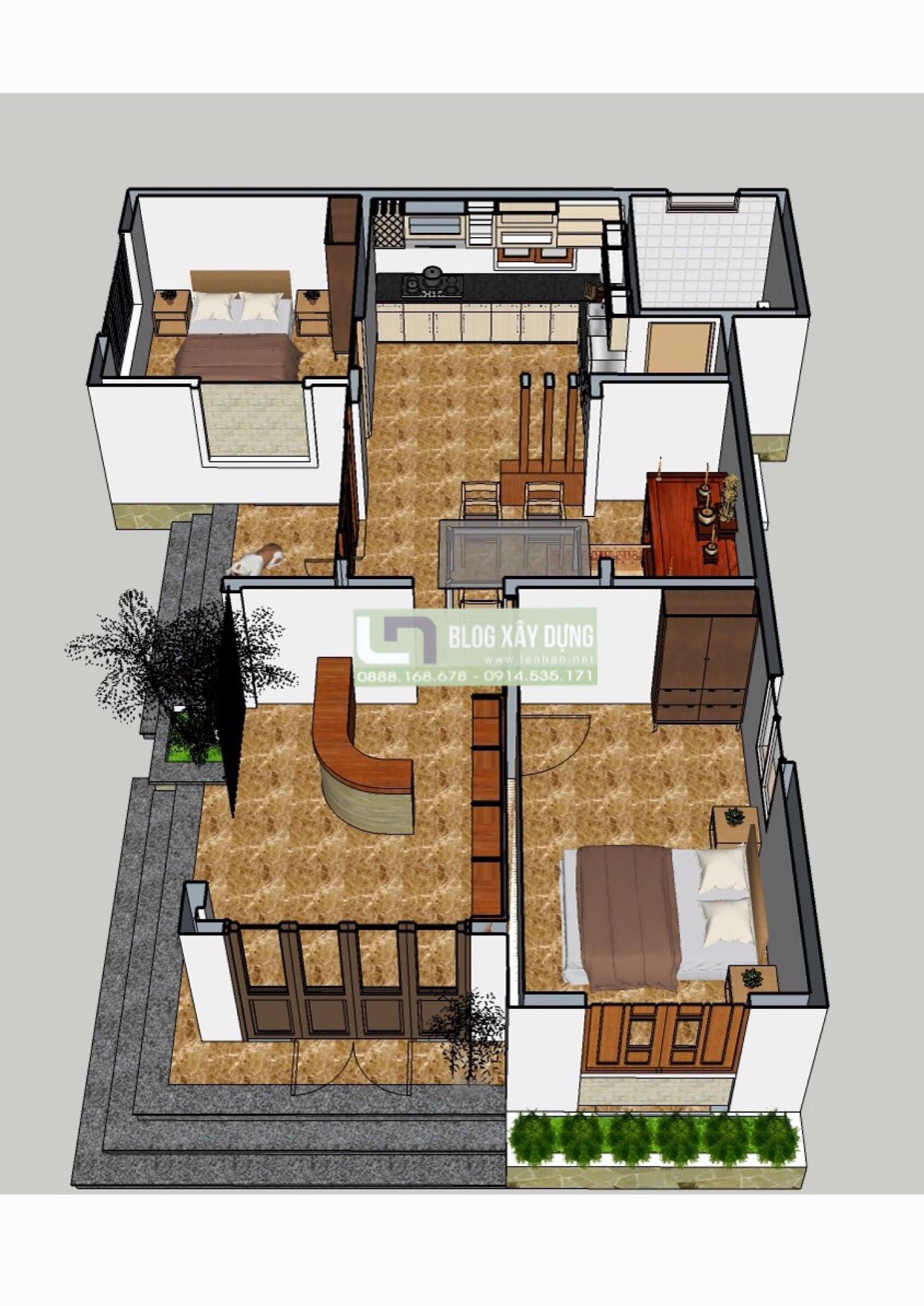 mat bang Mat bang Mẫu thiết kế nhà 3 gian cách tân 1 tầng đẹp 2