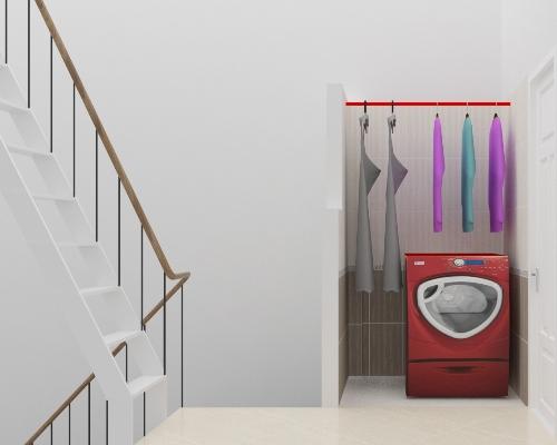 Không gian phòng giặt trong  thiết kế nhà phố 2 tầng 500 triệu trên mảnh đất 45m2