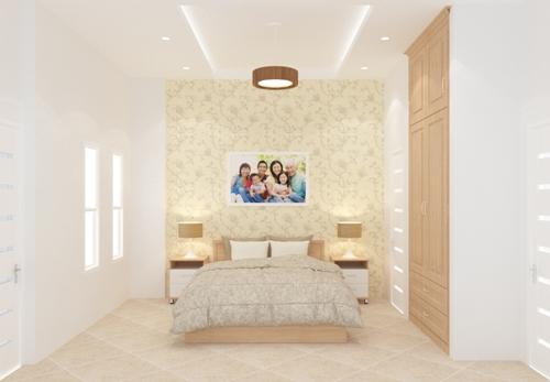 Không gian phòng ngủ trong  thiết kế nhà phố 2 tầng 500 triệu trên mảnh đất 45m2
