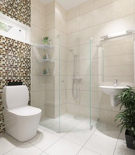 Phòng vệ sinh trong thiết kế nhà phố 2 tầng 500 triệu trên mảnh đất 45m2