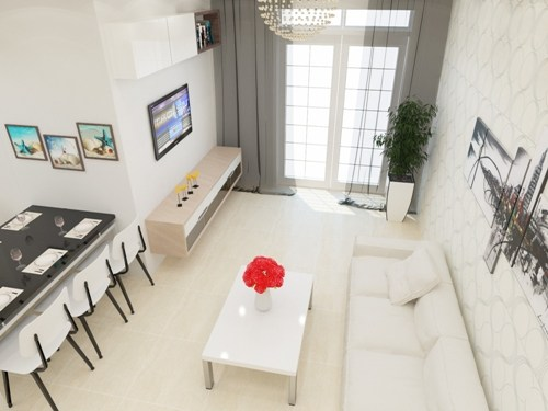 Không gian phòng khách trong  thiết kế nhà phố 2 tầng 500 triệu trên mảnh đất 45m2
