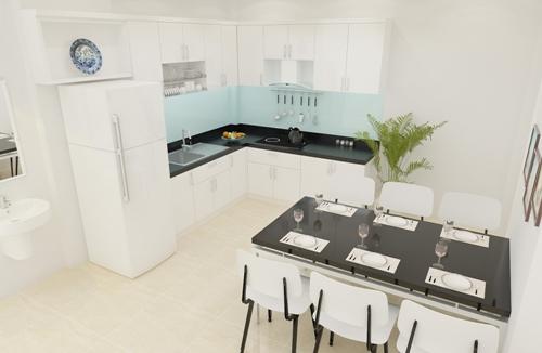 Không gian phòng ăn trong  thiết kế nhà phố 2 tầng 500 triệu trên mảnh đất 45m2