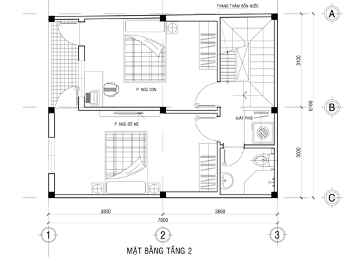 Mặt bằng tầng 2 thiết kế nhà phố 2 tầng 500 triệu trên mảnh đất 45m2