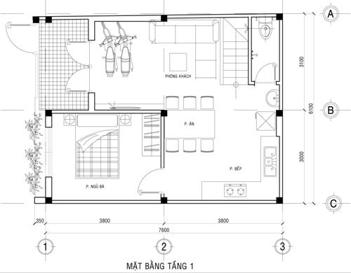 Mặt bằng tầng 1 thiết kế nhà phố 2 tầng 500 triệu trên mảnh đất 45m2