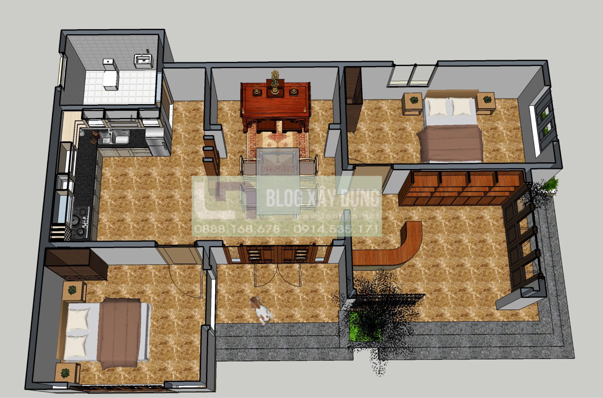 Mat bang Mẫu thiết kế nhà 3 gian cách tân 1 tầng đẹp