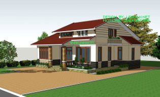 Mẫu thiết kế nhà vườn cấp 4 có gác lửng kiểu biệt thự mái thái đẹp 150m2 – MS: LN-NV011116