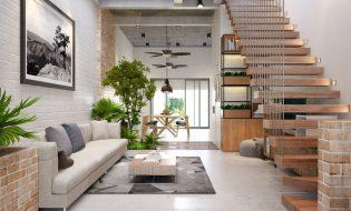 Tư vấn thiết kế kiến trúc nhà ống đẹp 4.5x20m 3 tầng 3 phòng ngủ có gara ô tô của chị Linh Đà Nẵng