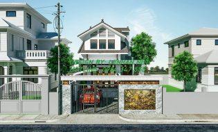 Mẫu thiết kế biệt thự phố đẹp 2 tầng, mái ngói mặt tiền 7m có sân vườn của gia đình anh Nhật Đông Hà Quảng Trị