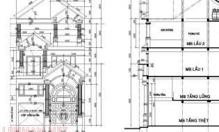 Chia sẽ file bản vẽ cad biệt thự tân cổ điển 03 tầng mái ngói 8×11.3m