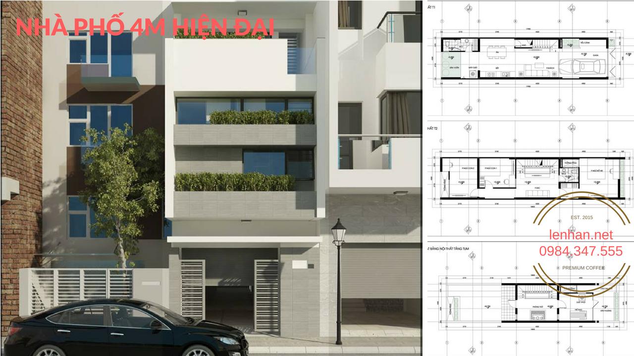 Mẫu thiết kế Nhà phố 4m 4 tầng đẹp thoáng và hiện đại