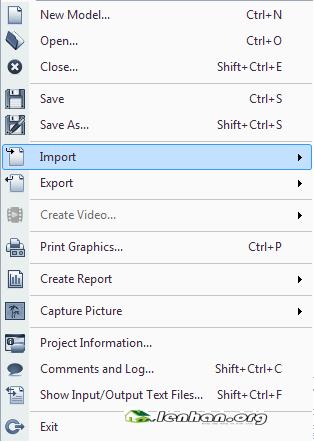 menu file trong Etabs 2013