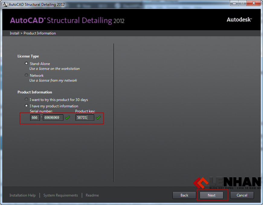 Serial number AutoCAD Structural Detailing 2012