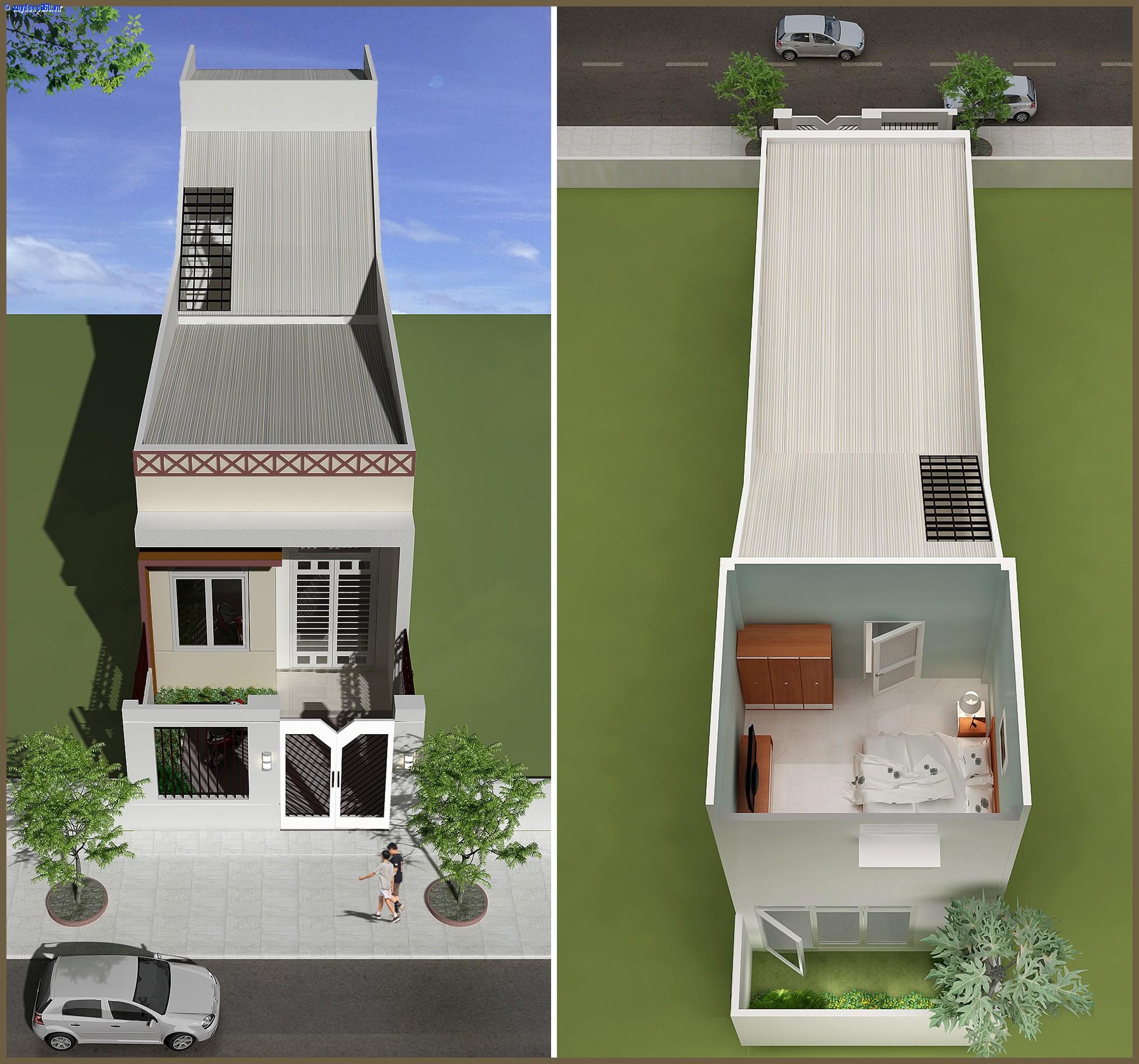 1 - Mẫu thiết kế nhà cấp 4 đẹp mái tôn, giá rẻ trên đất 4mx19m
