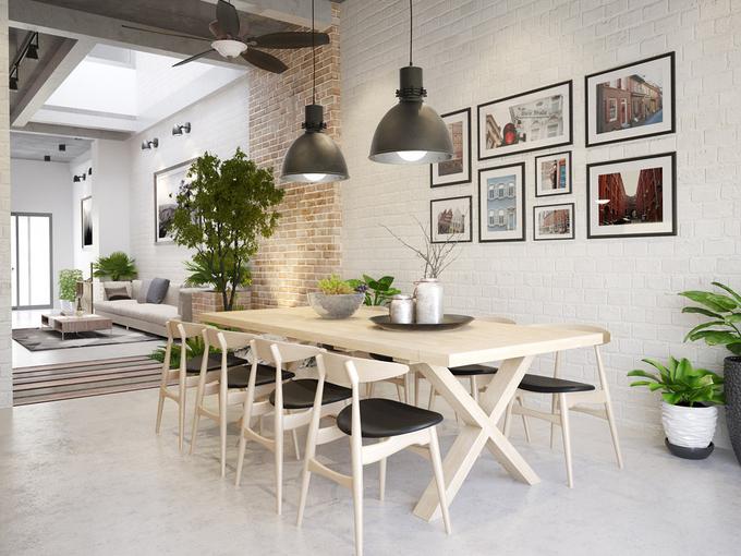 Không gian bàn ăn được bố trí ngay sau phòng khách; được ngăn cách với phòng khách bằng tiểu cảnh nhỏ có thông tầng
