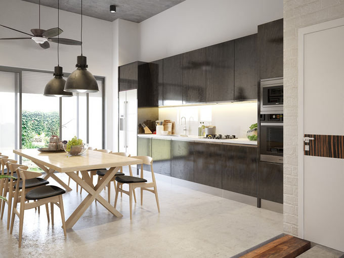 Tủ bếp thiết kế đơn giản mà hiện đại