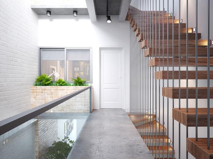 Cầu thang và thông tầng tầng 2