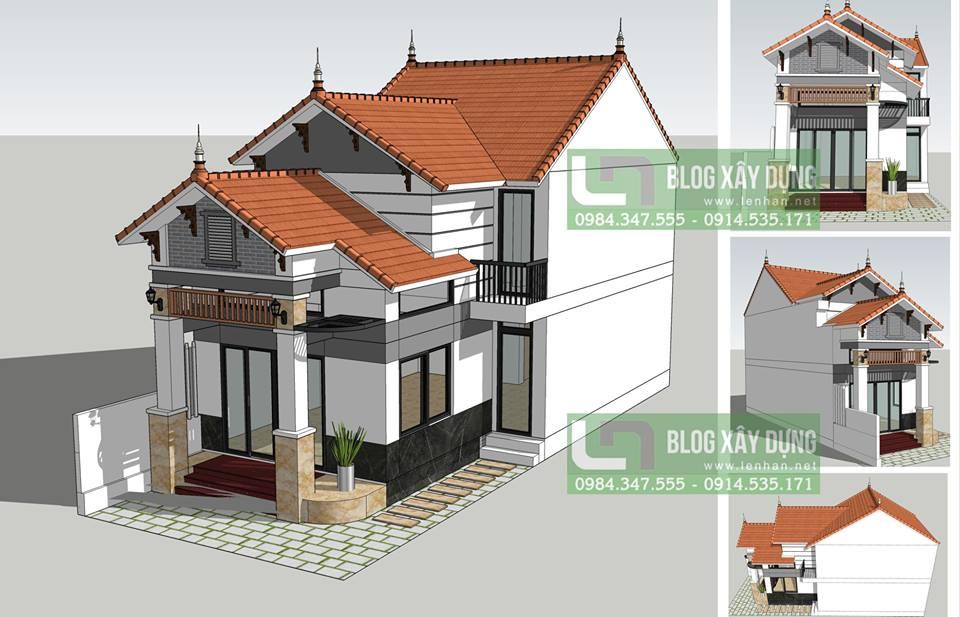 Phối cảnh tổng thể nhà phó đẹp mái thái 3 phòng ngủ 1,5 tầng