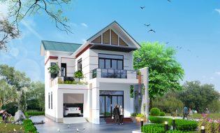 thiết kế nhà mái thái 2 tầng đẹp 8x14m
